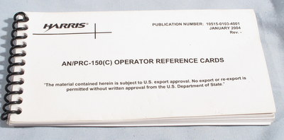 Harris AN/PRC-150(C) Advanced Tactical HF Radio Operator Reference Cards,  10515-0103-4001