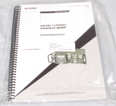 Harris AN/PRC-117F(V)(C) Manpack Radio Operation Manual 10515-0109-4100 new